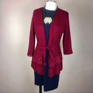 FOREVER 21 LACE open knit cardigan sweater merlot